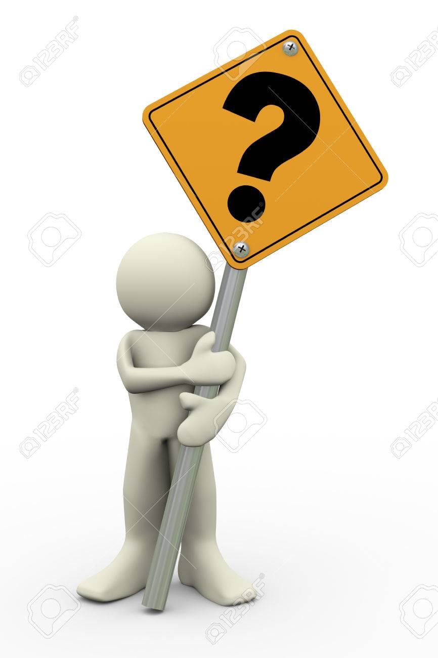 3d illustration of person holding road sign of question mark  3d rendering of people human character Stock Illustration - 23043883
