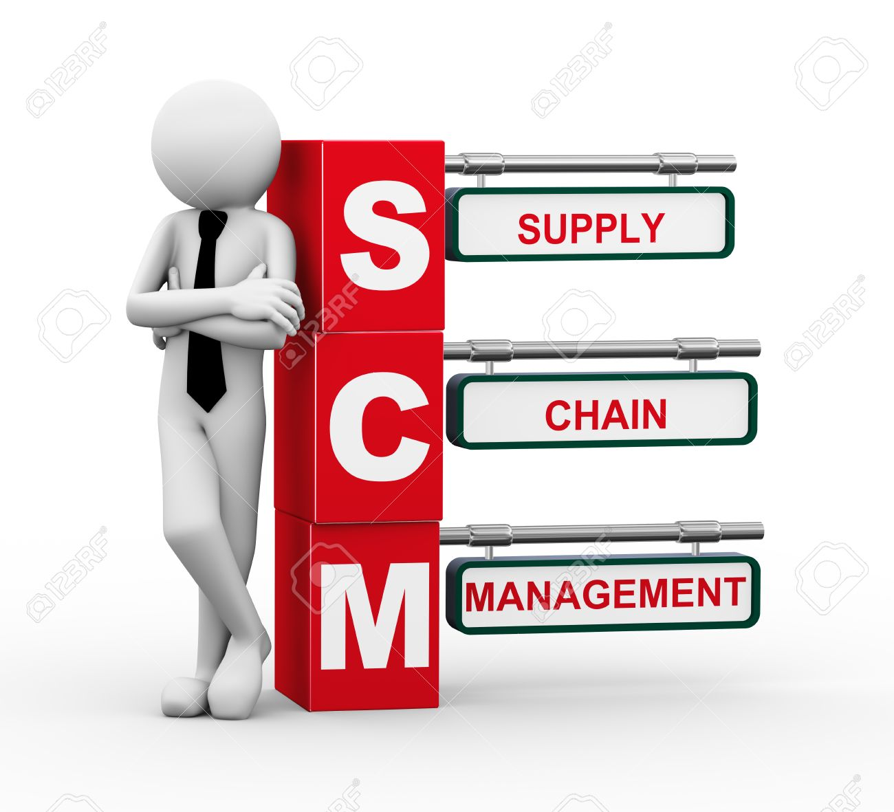 3d Rendering Of Business Person Standing With Scm - Supply Chain ...