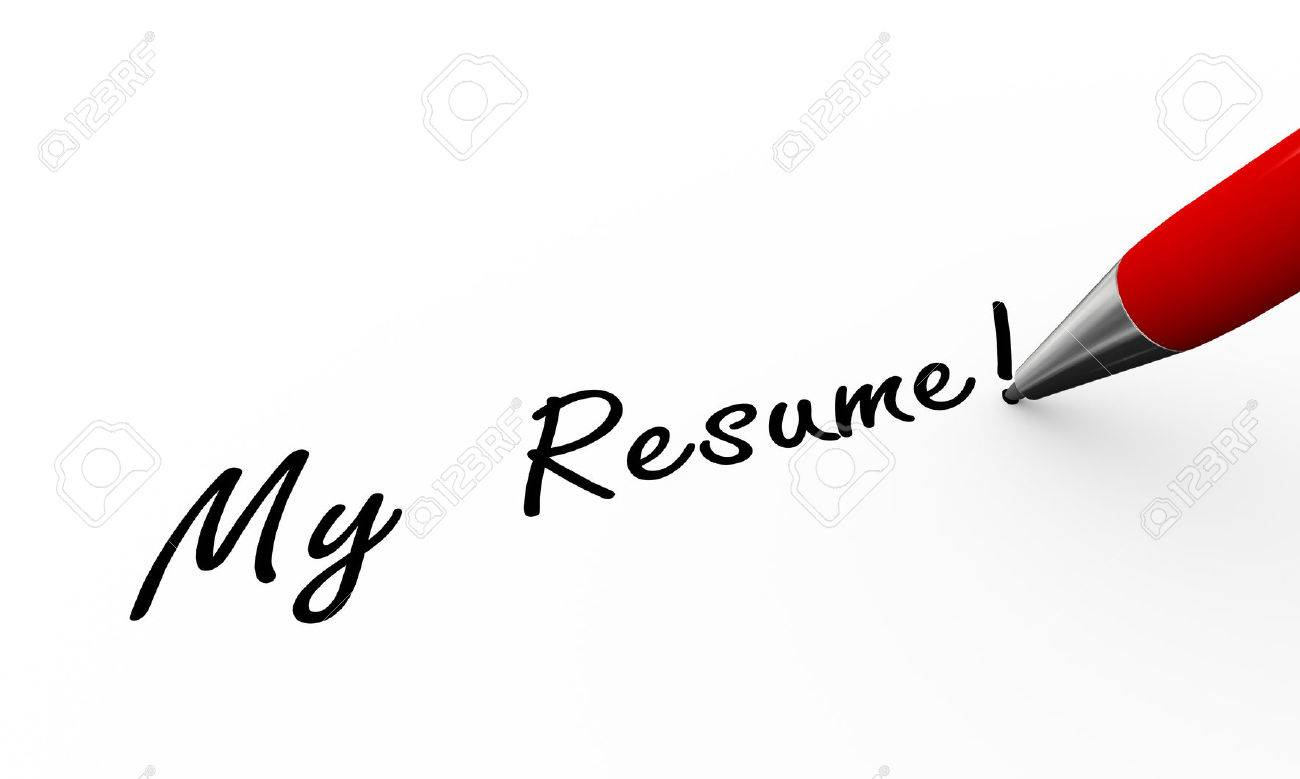 3d Rendering Of Pen Writing My Resume On Paper Stock Photo Picture