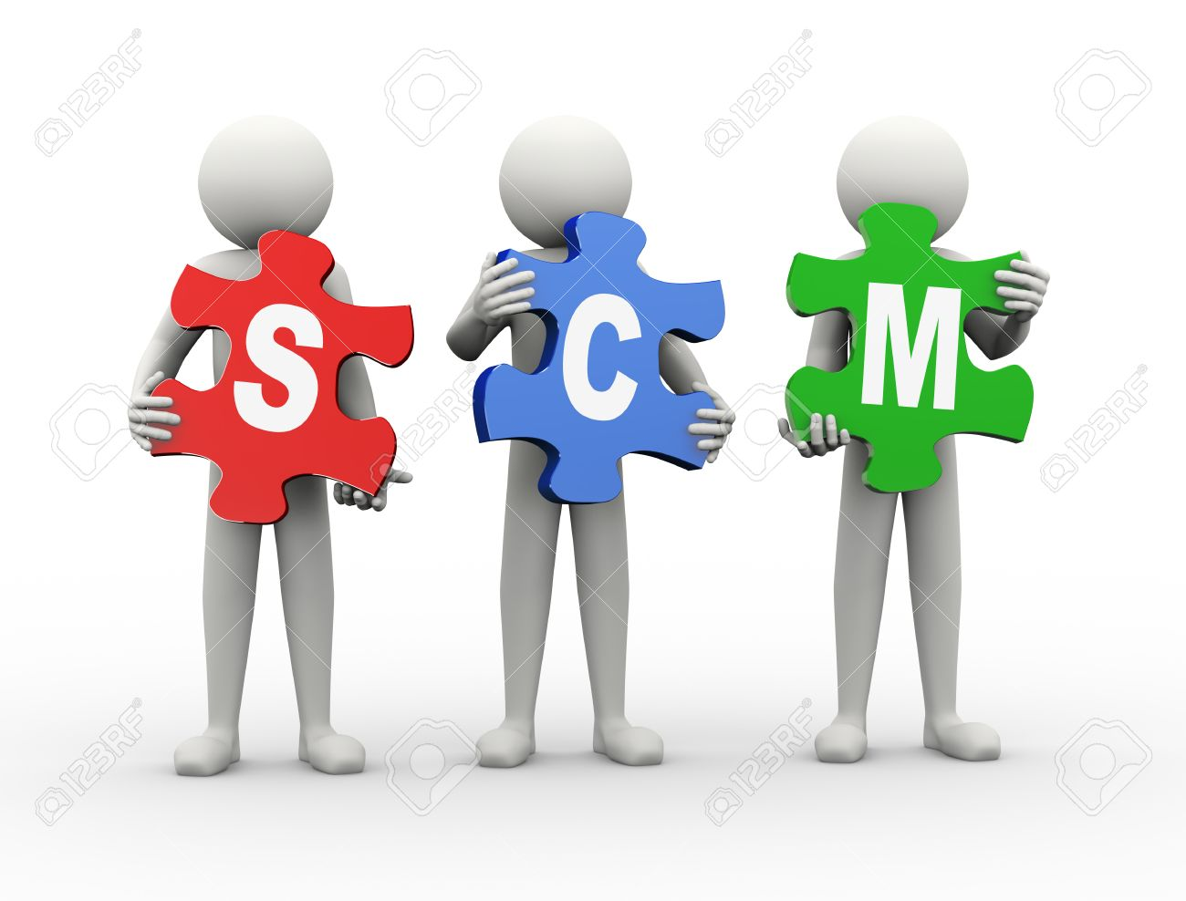 3d Rendering Of People Holding Puzzle Pieces Of Scm - Supply ...