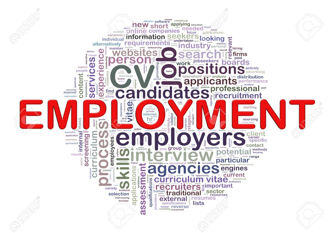 illustration of circular word tags wordcloud of employment stock
