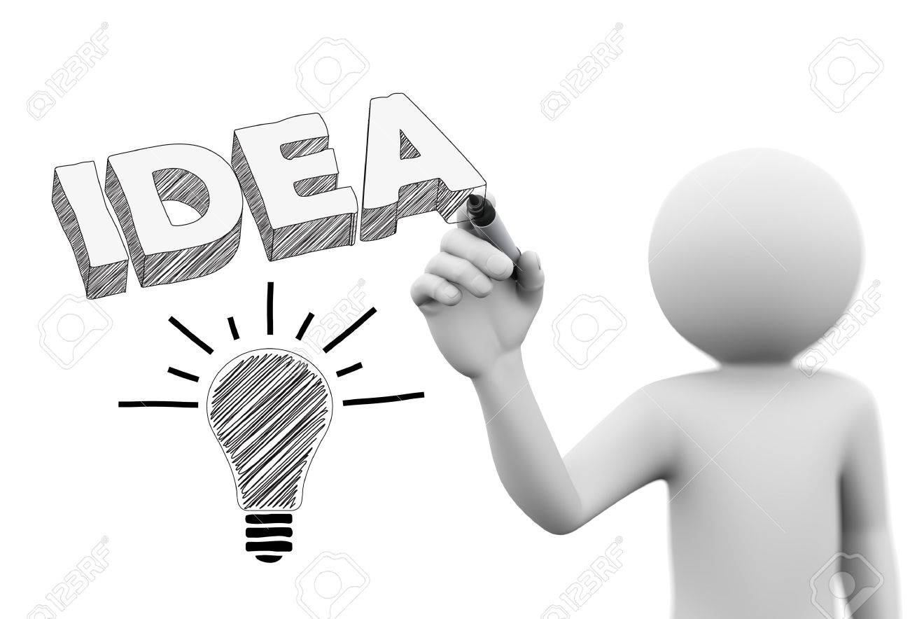 3d rendering of man drawing 3d word idea and bulb with marker on transparent glass screen