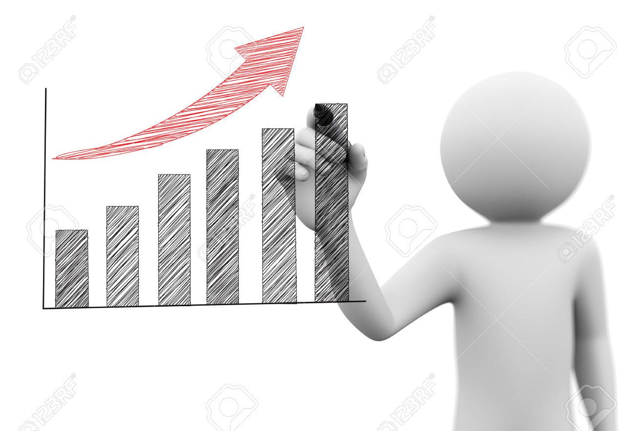 3d Rendering Of Person Drawing Business Scribble Growth Progress