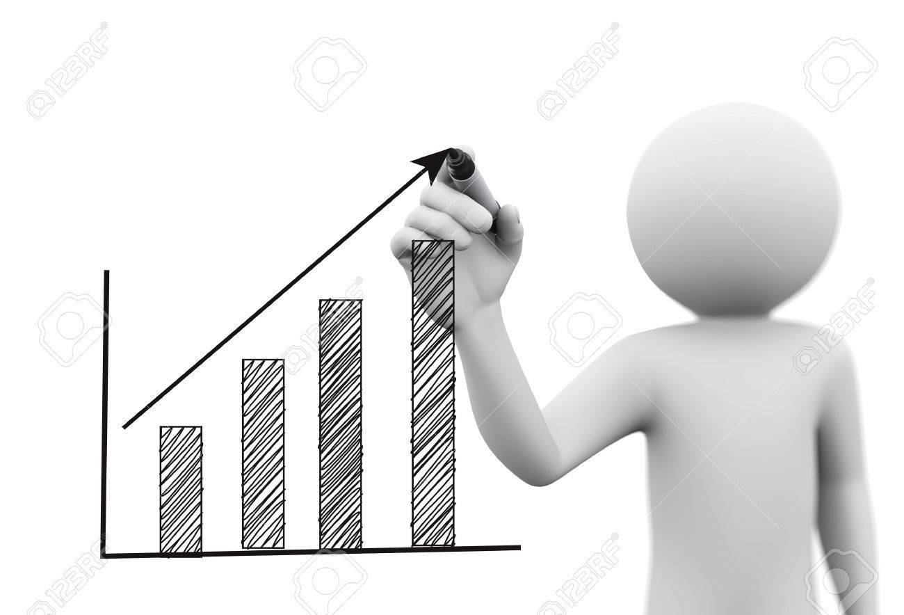 3d Rendering Of Man Drawing Business Arrow Growth Progress Graph