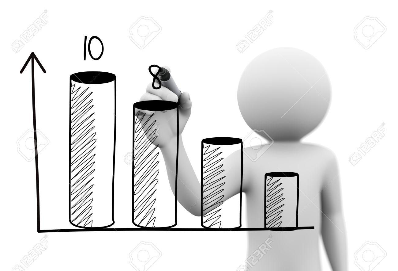 3d Rendering Of Man Drawing Business Growth Progress Graph Bar