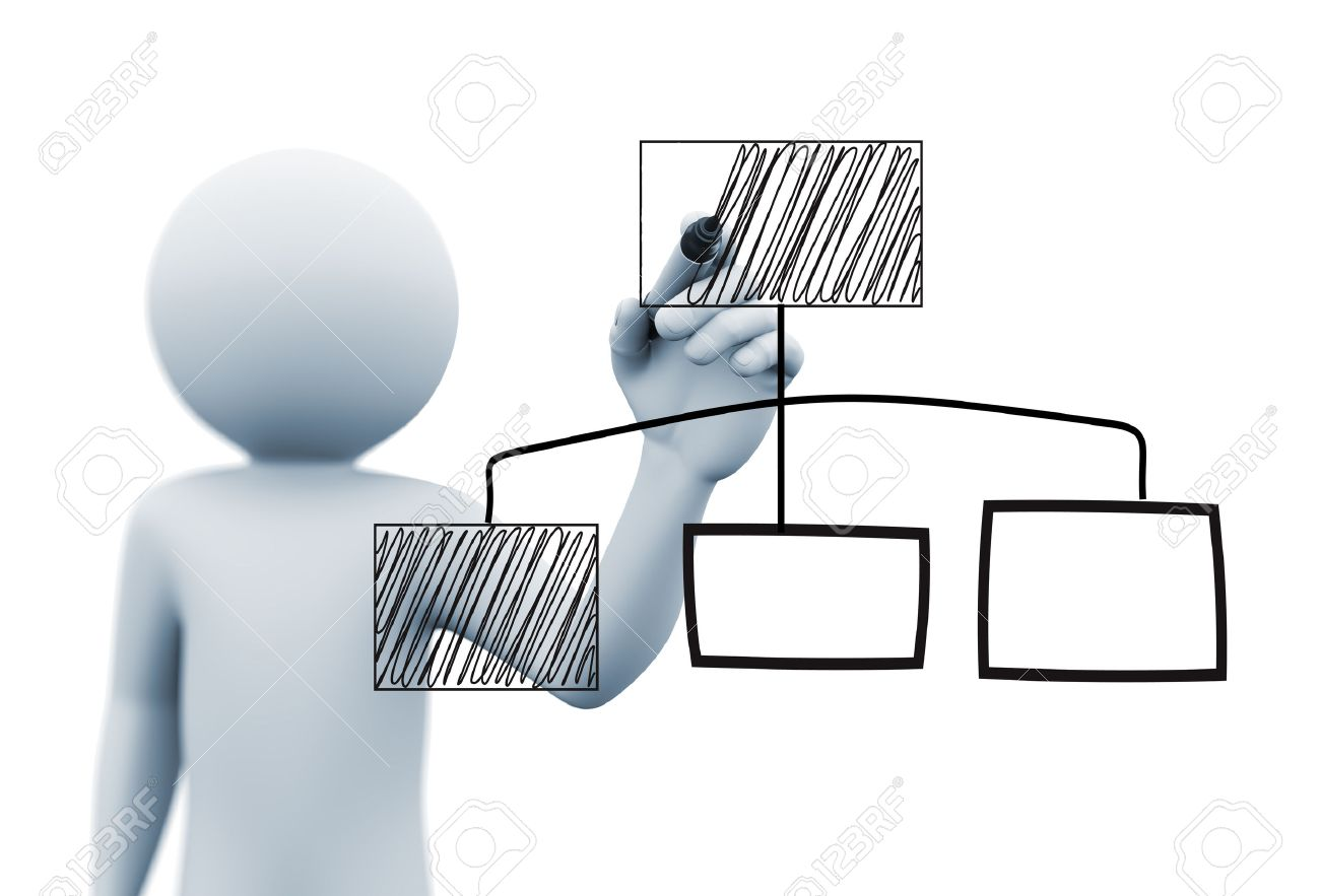 3d Rendering Of Man Drawing Business Organizational Chart Diagram ...