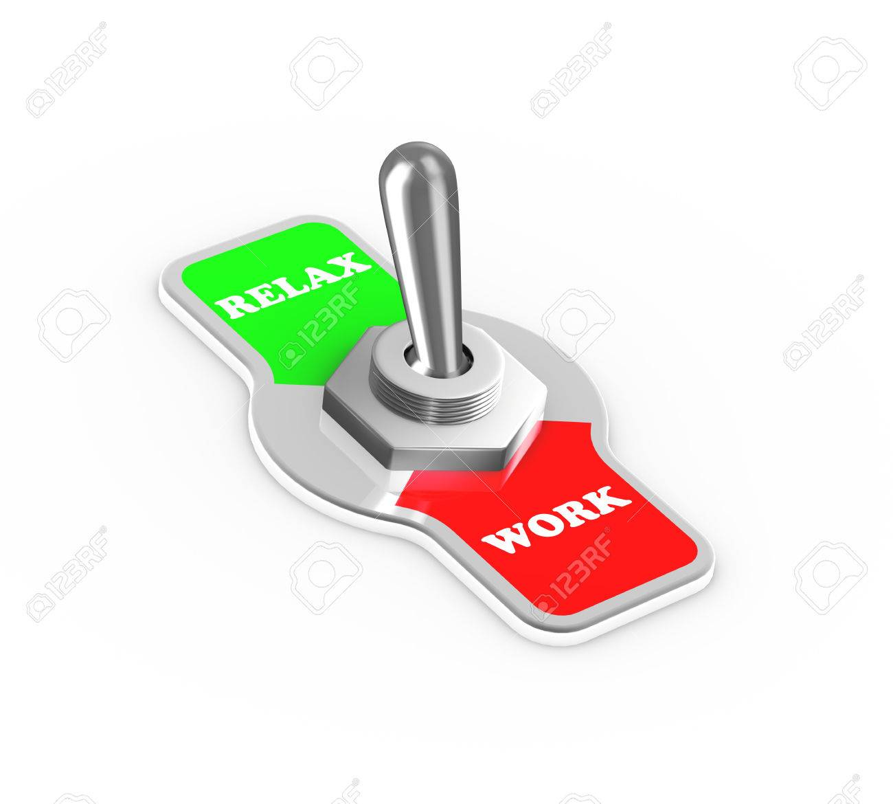 3d Rendering Of Work Relax Toggle Switch Button Flipped In The ...