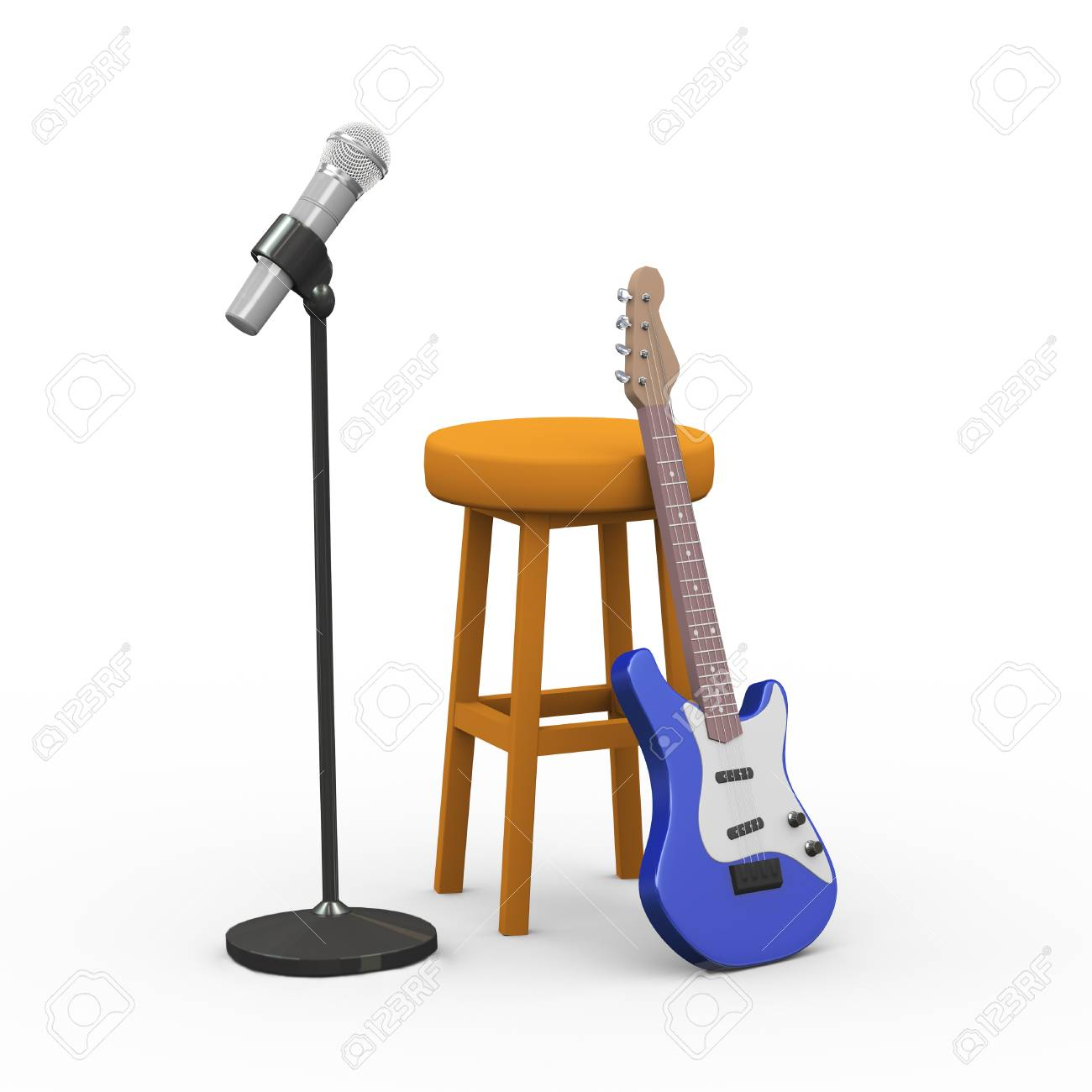 Groovy 3D Rendering Of Electric Guitar Wooden Stool And Microphone Ocoug Best Dining Table And Chair Ideas Images Ocougorg