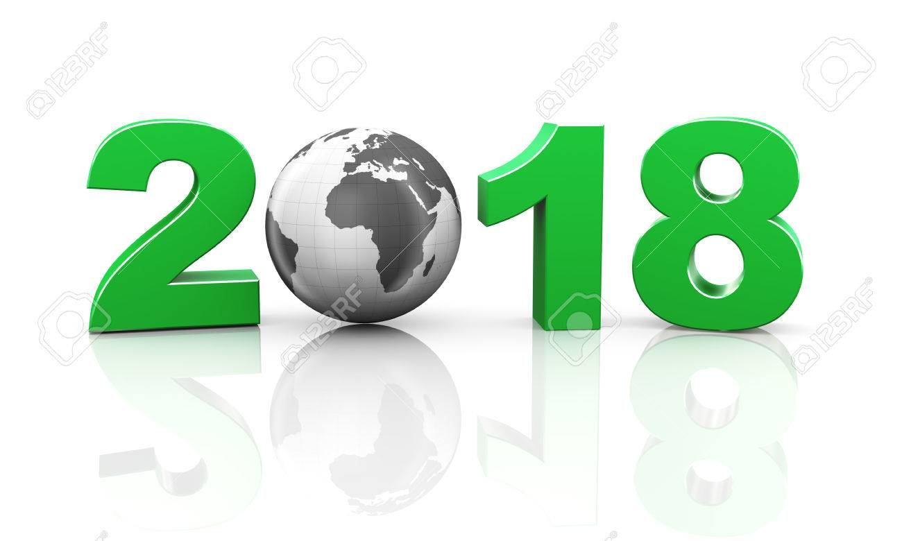 3d rendering of world map sphere globe in happy new year 2018 3d rendering of world map sphere globe in happy new year 2018 concept stock photo gumiabroncs Gallery