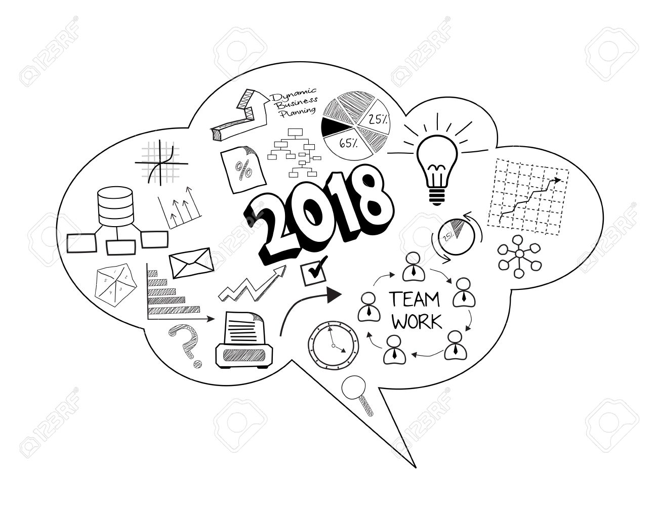 Illustration Of Business Bubble Speech Of New Year 2018 Stock Photo ...