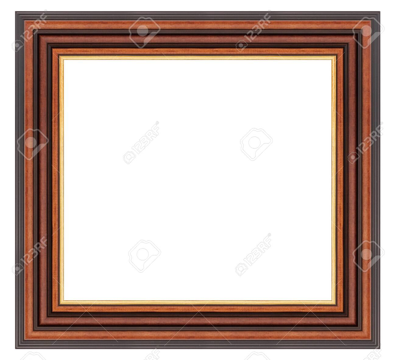 Vintage brown wooden frame on a white - 126782202
