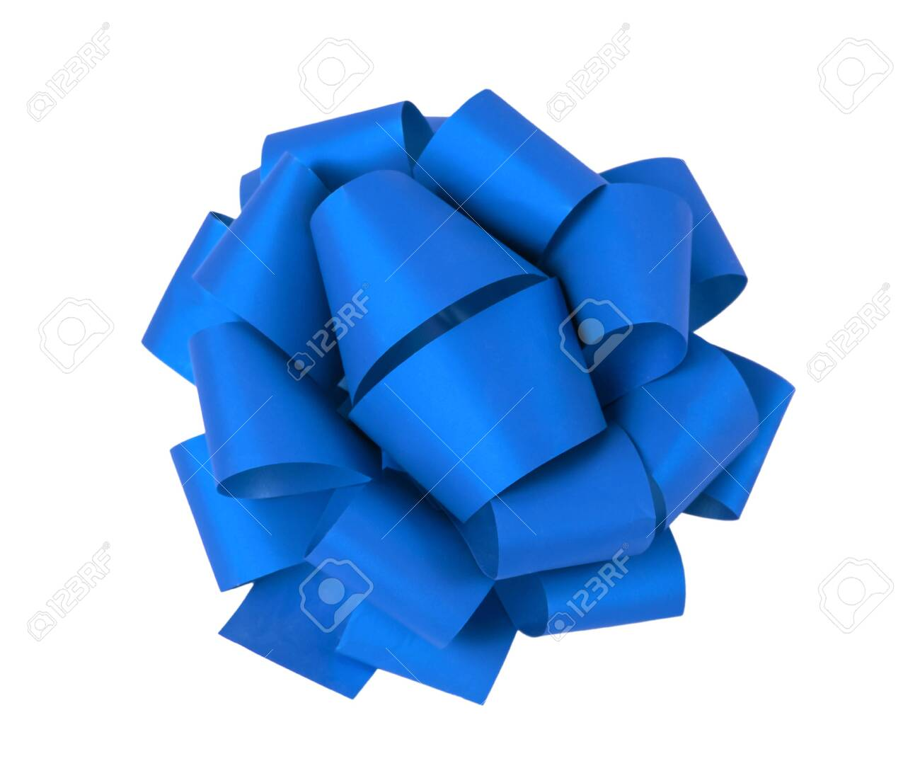 Blue gift bow on a white background, isolated - 130283540