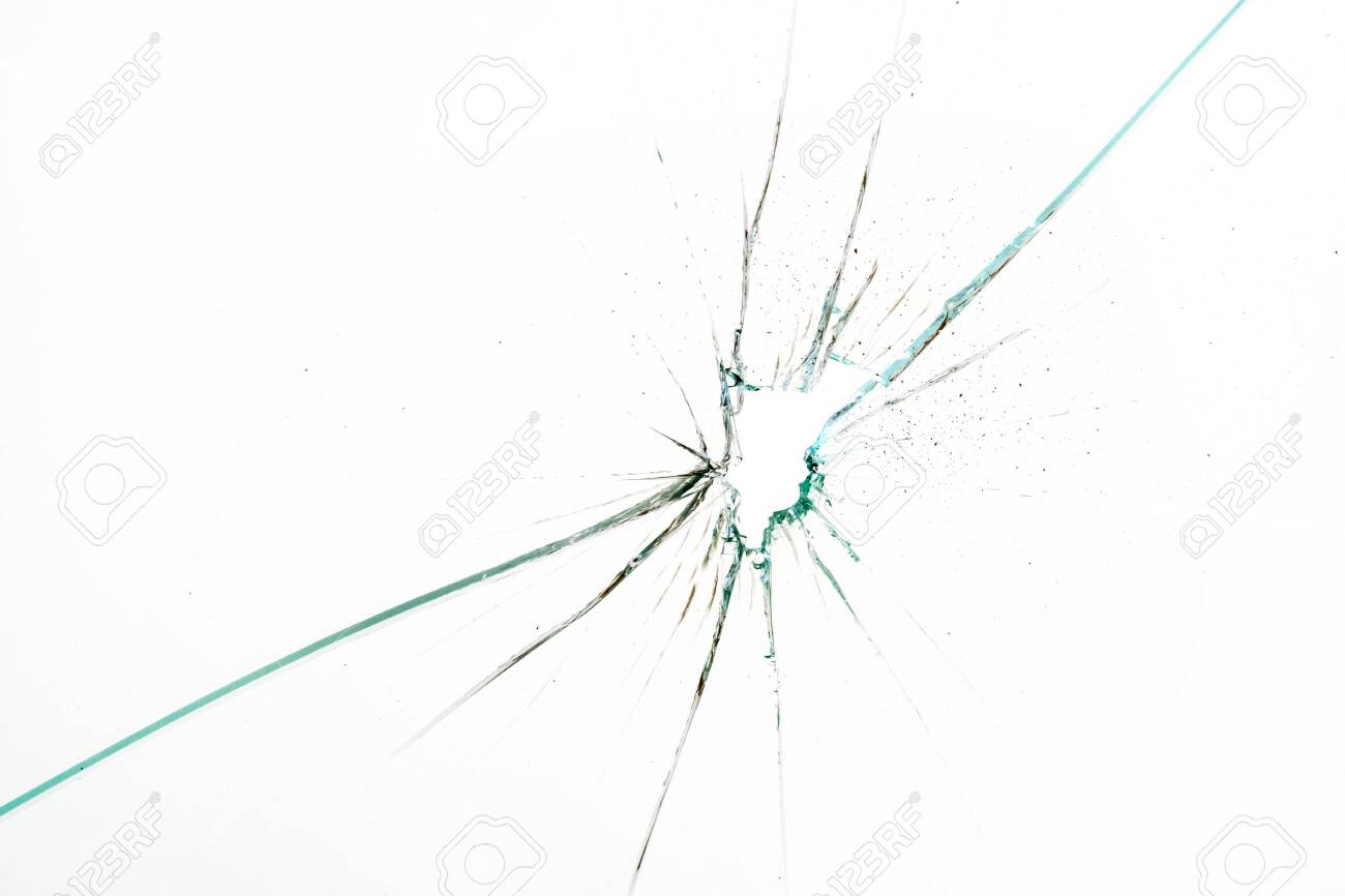 broken and cracked glass with hole on a white background - 133135723