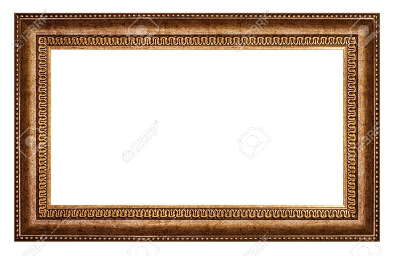Old style vintage golden frame isolated on a white background - 144618081