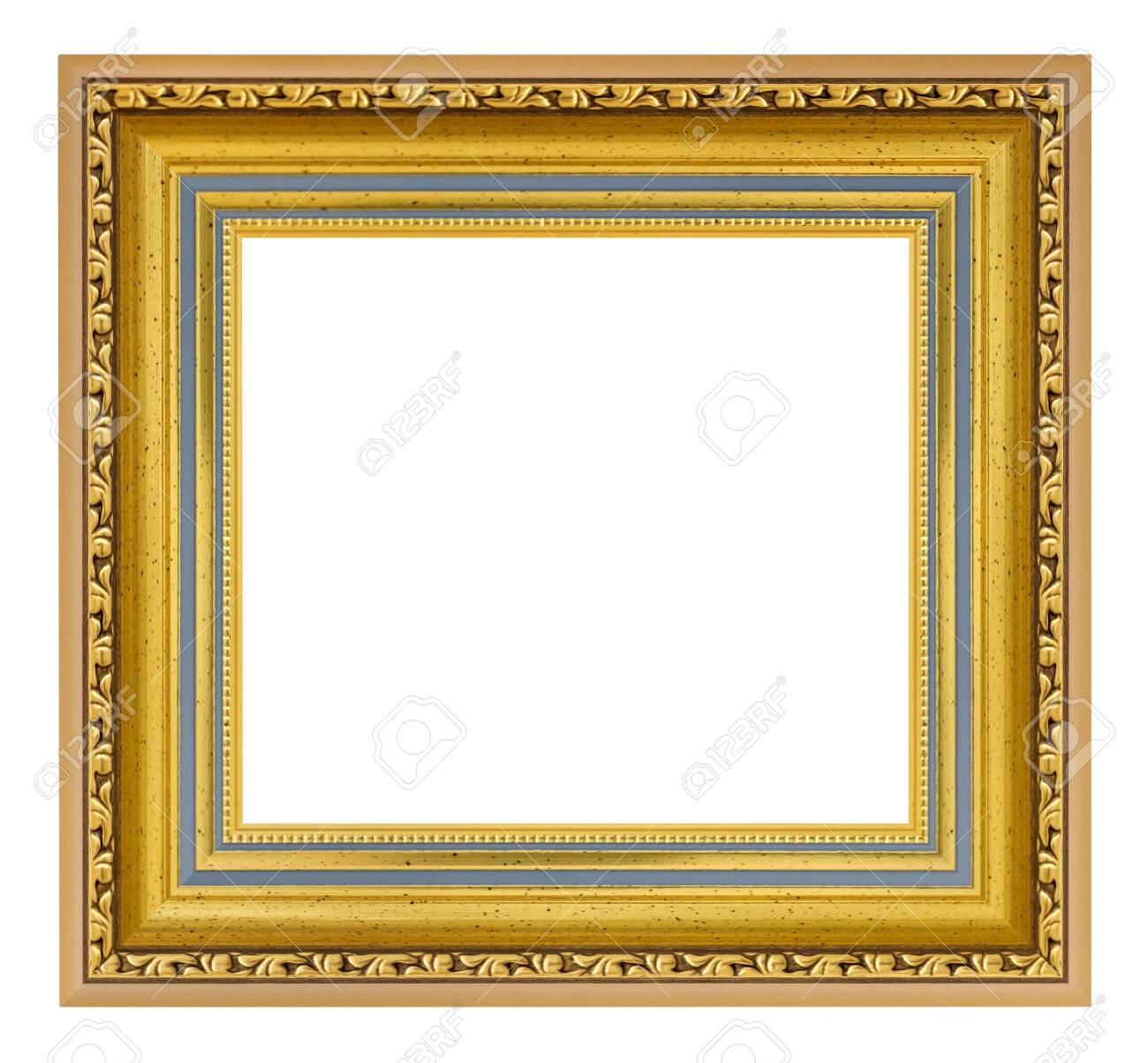 Golden vintage square frame on a white background, isolated - 151399538
