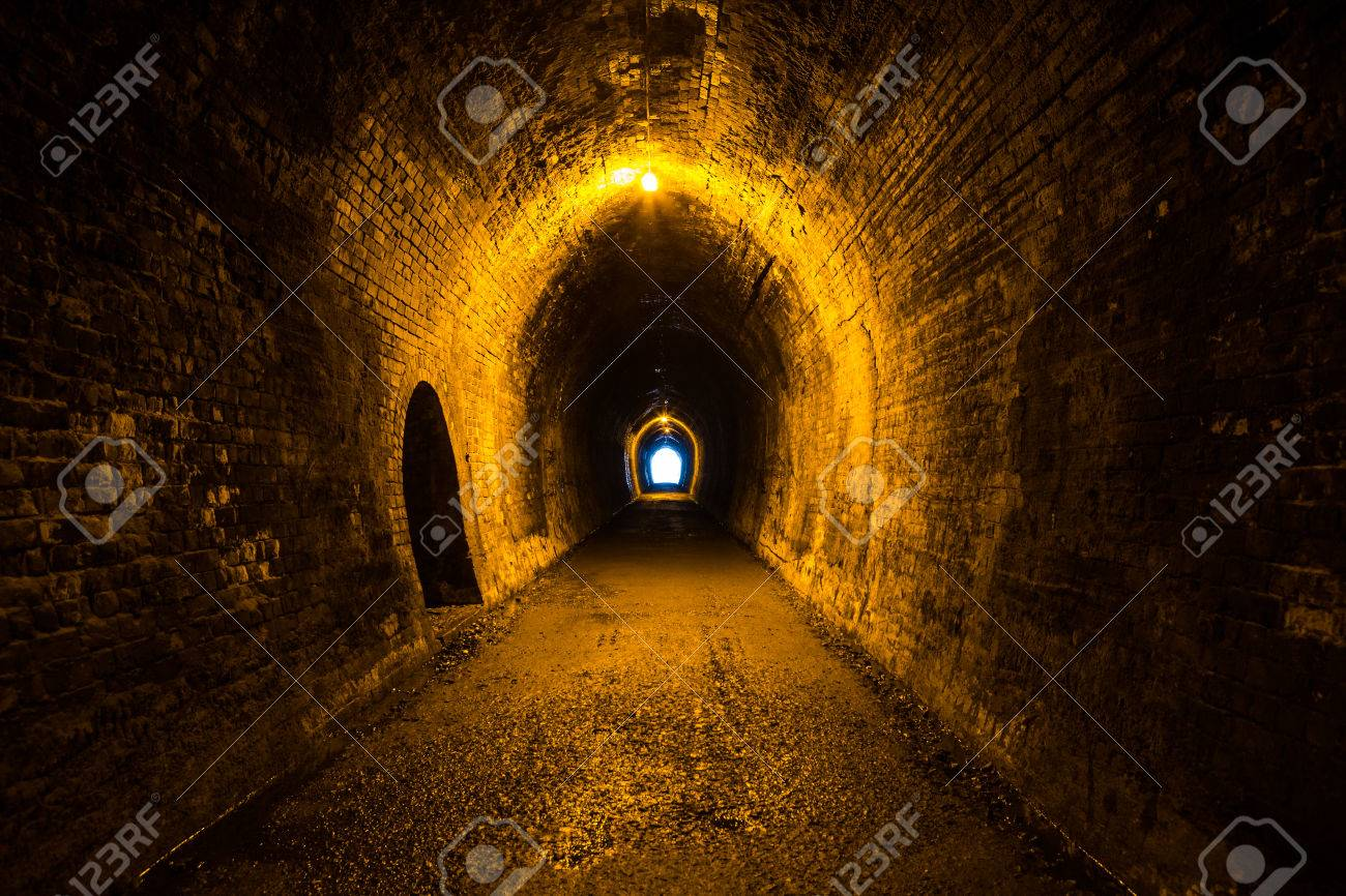 Abandoned rail tunnel in an old gold mine - 51233604