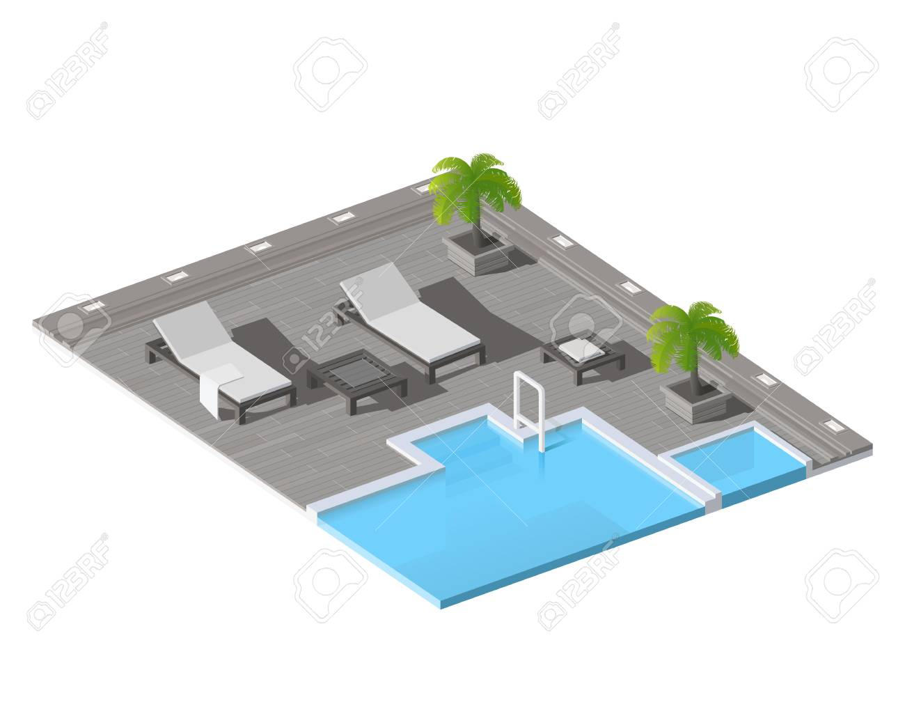 Isometric vector low poly swimming pool with lounge chairs.