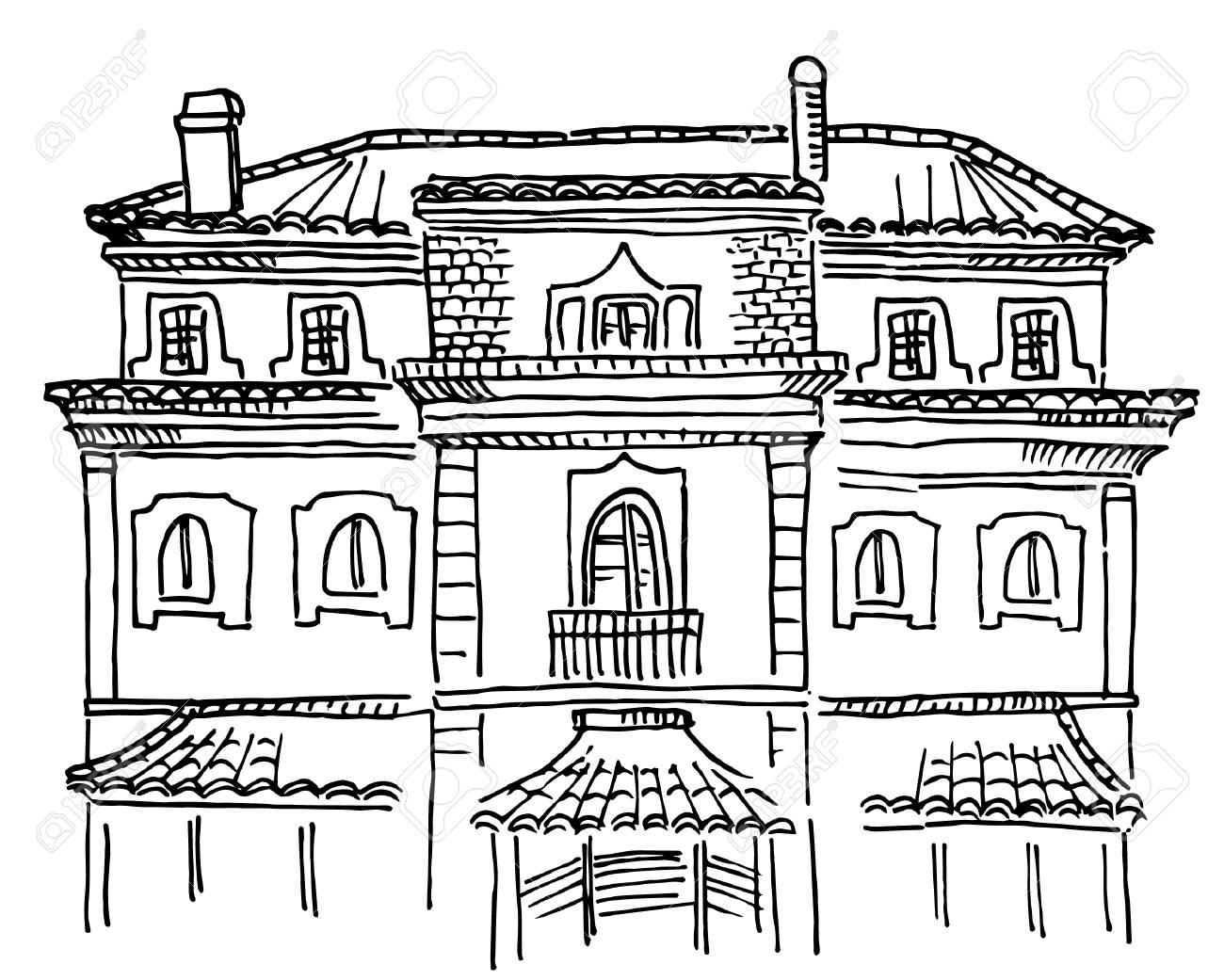 Sketch Of Portuguese House Front View Royalty Free Cliparts, Vectors on house construction, house layout design, house template, house model design, house drawing, house painting design, house art design, house design blueprint, house perspective design, house autocad, house architecture design, house graphic design, house light design, house green design, sketchup house design, green building design, house studio design, product page design, house study design, house plans with furniture layouts,