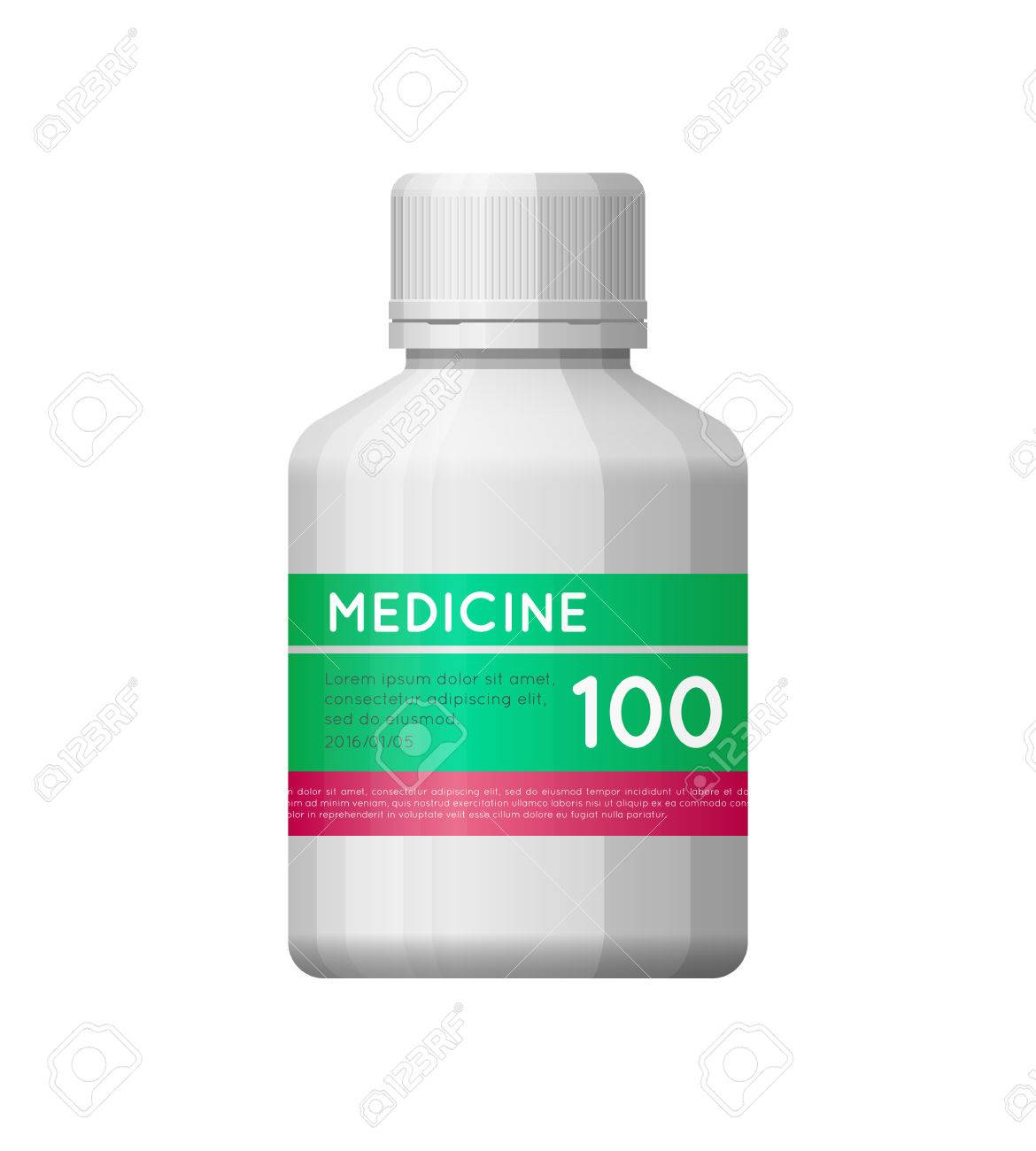 Medicine White Bottle With Label Empty Plasric Bottle For Drugs