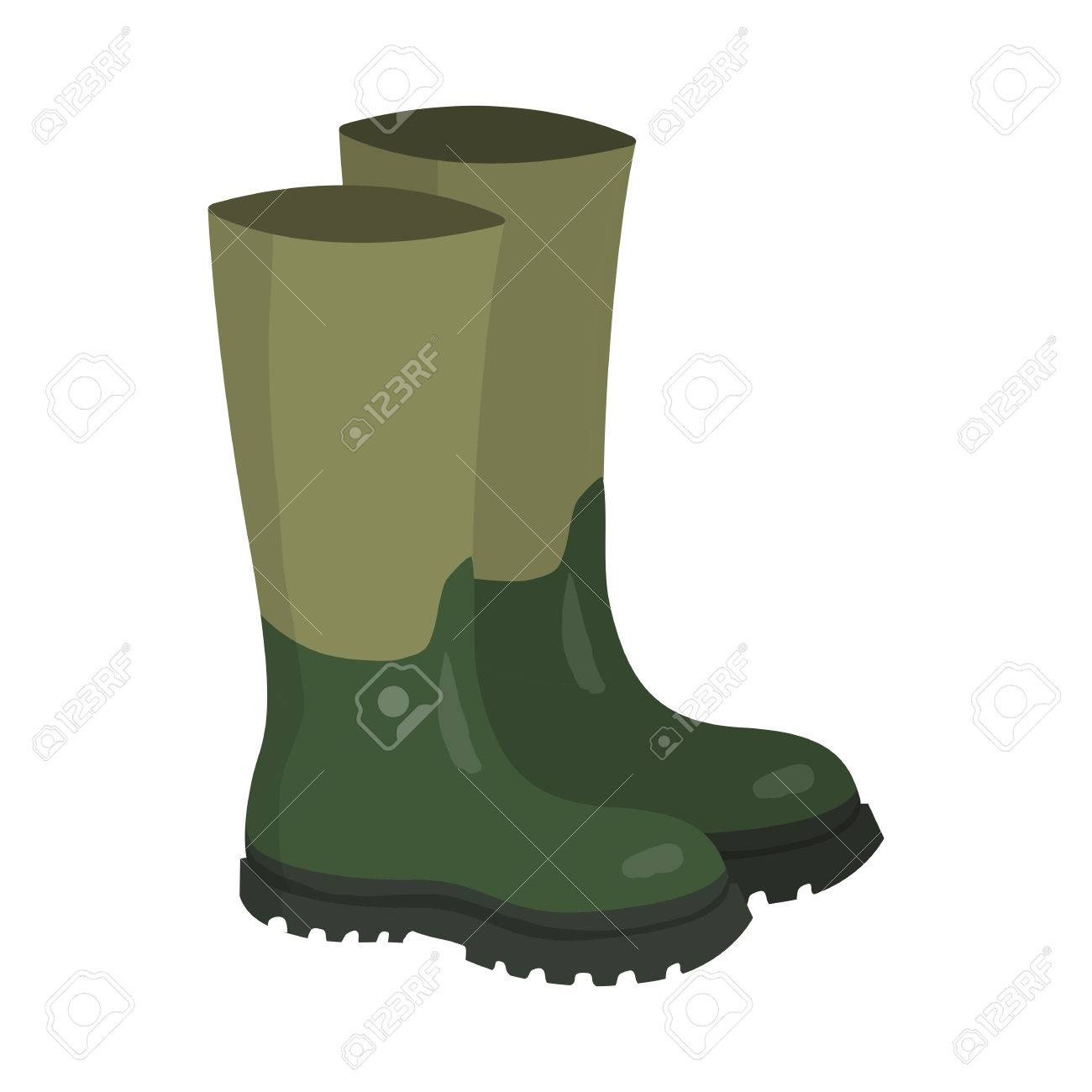 Pair of green rubber hunters and fisherman high boots. Cartoon vector illustration. - 60619244