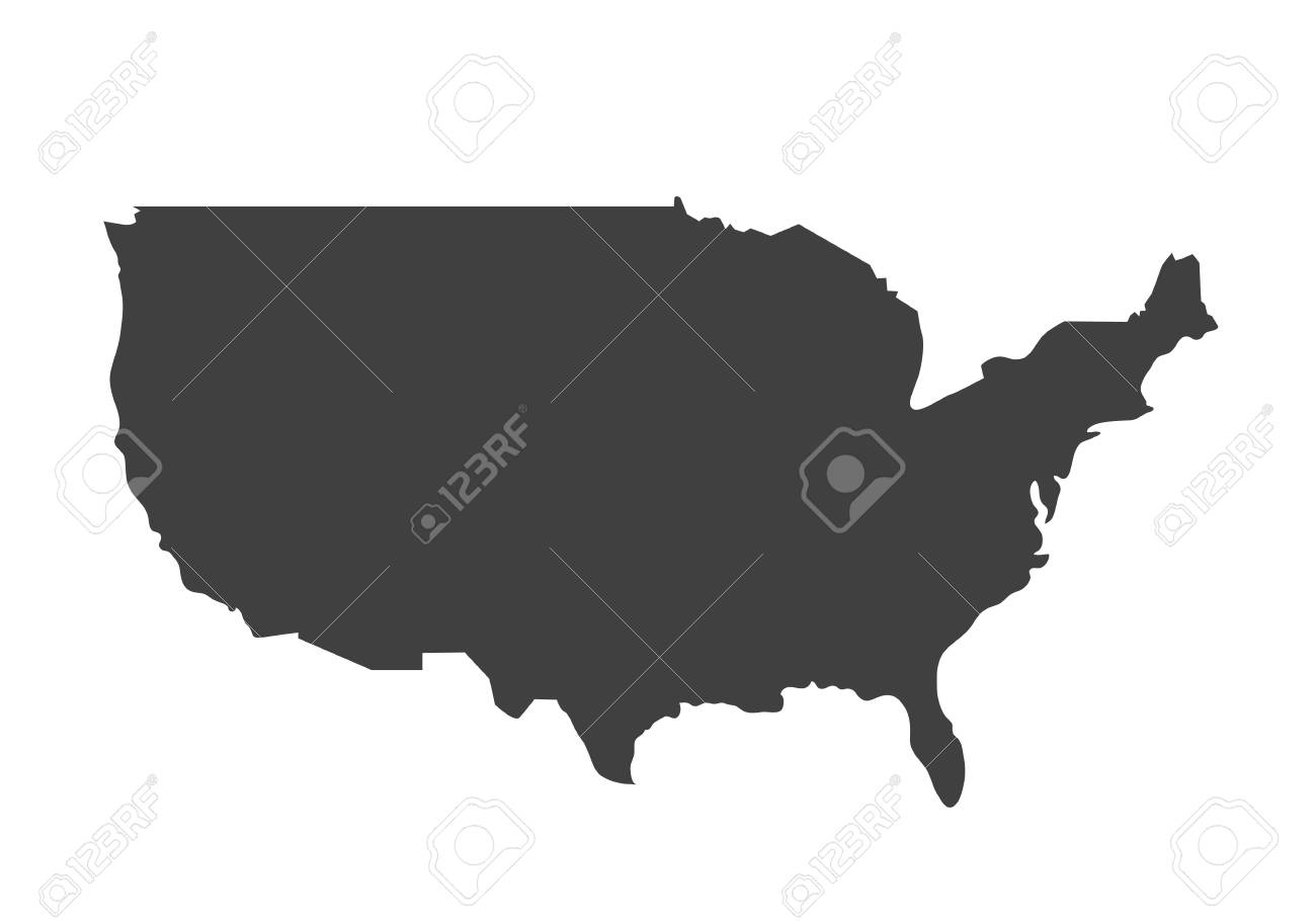 Blank And White Usa Map.Vector Map Of Usa United States Of America Country Blank Similar