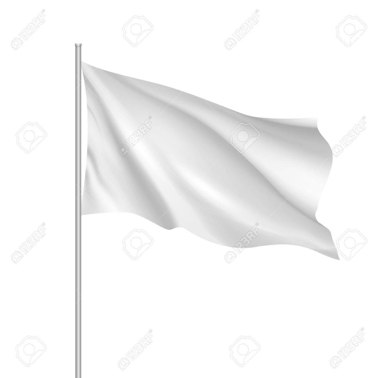 Flag Template | White Waving Flag Template Clean Horizontal Flag For Your Design