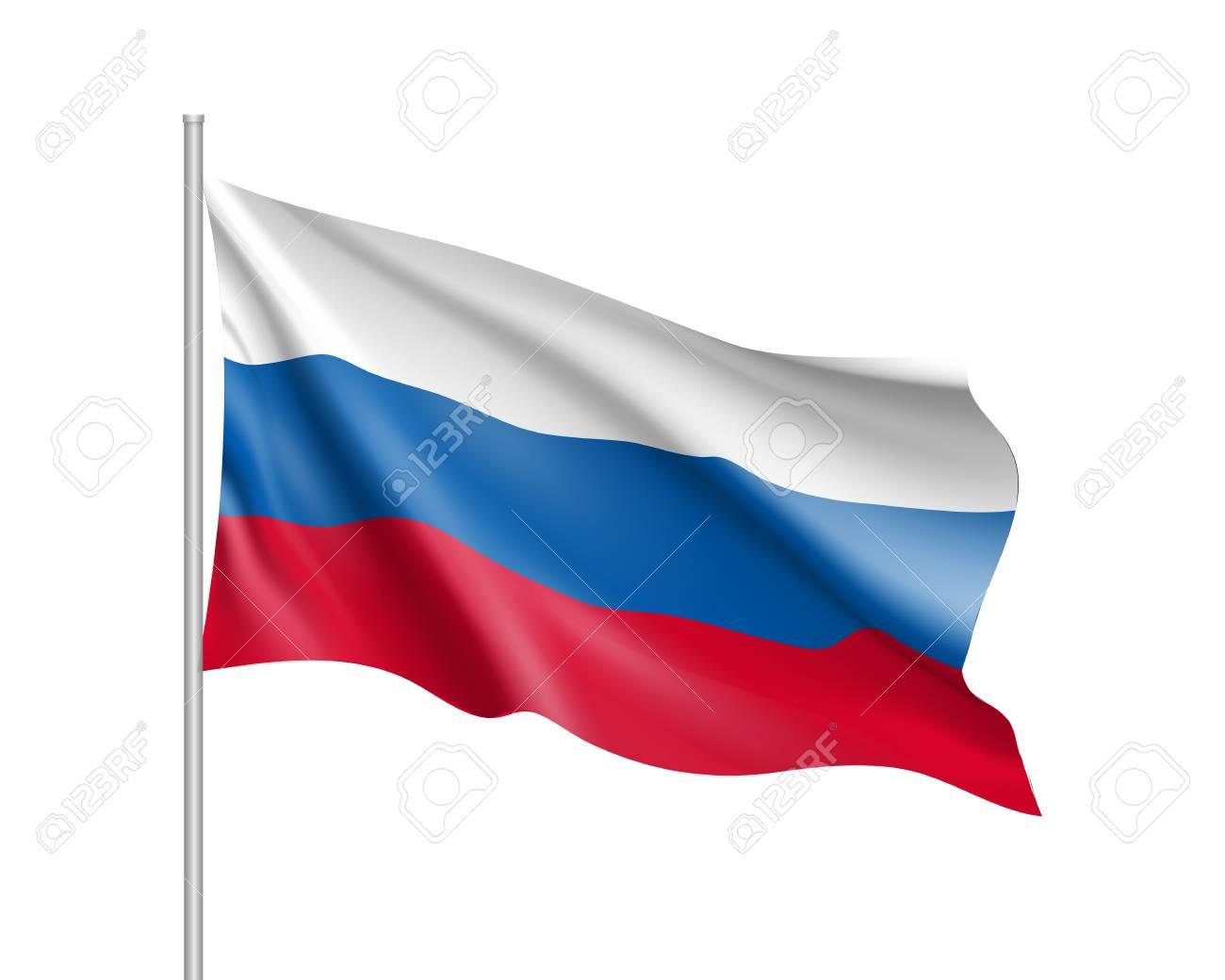 Vector Template Of Russia Flag On Metallic Pole Waving Flag