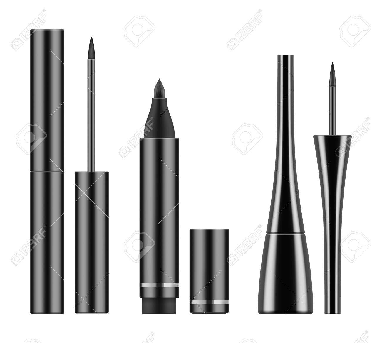 black liquid eyeliners and pencil stock photo picture and royalty