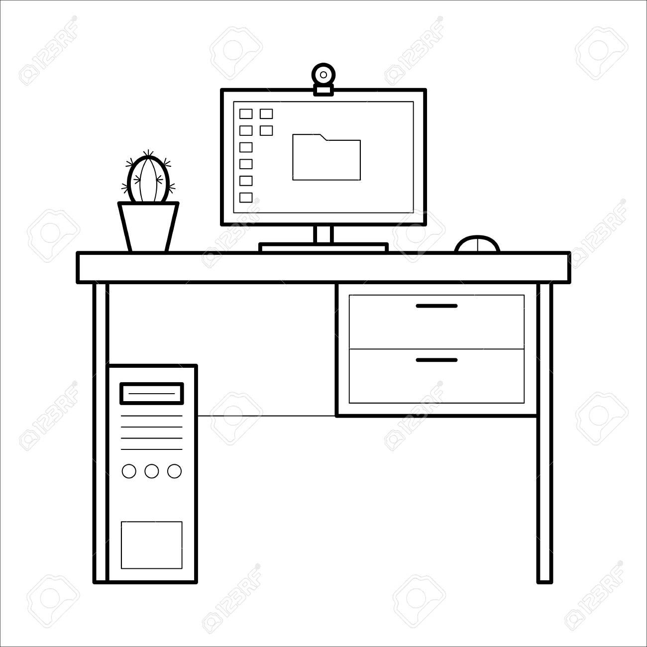 - Computer Desk - Thin Line Style. Royalty Free Cliparts, Vectors
