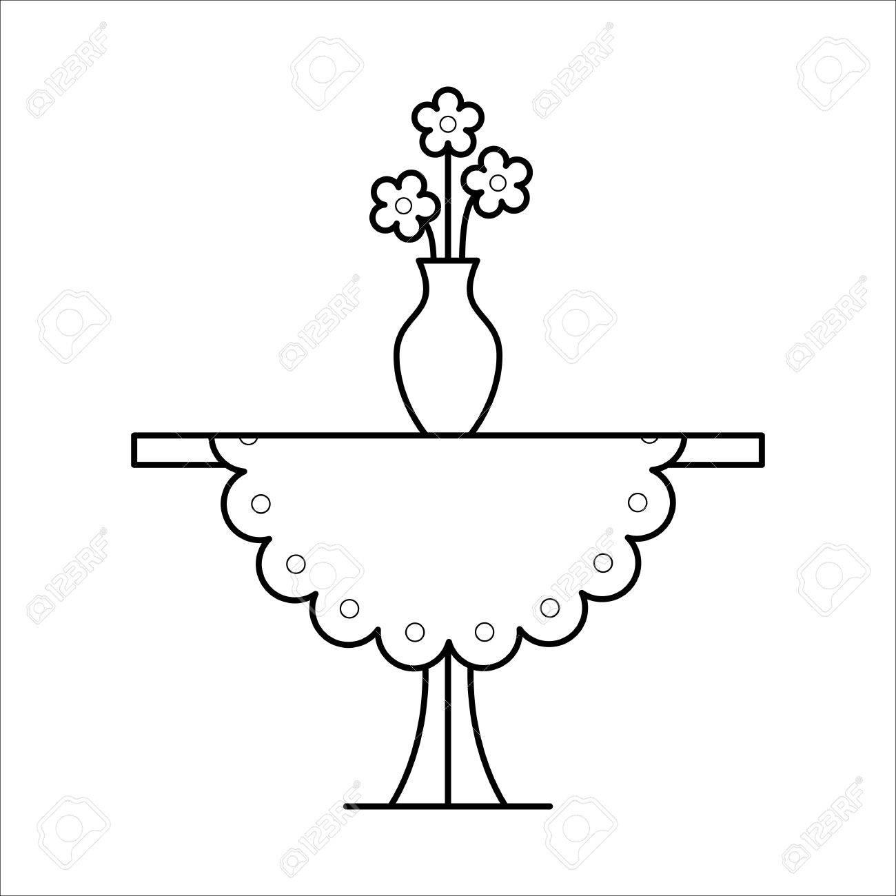 Kleine Tisch Wohnmöbel Lineart Design, Innenarchitektur Lizenzfrei ...