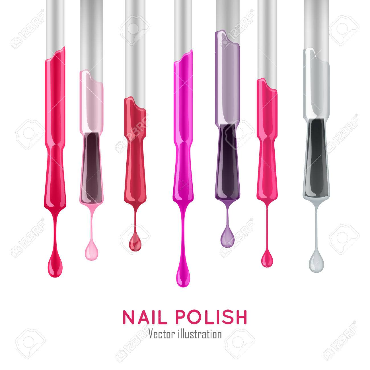 Nail Polish Examples Realistic Set. Professional Care Concept ...
