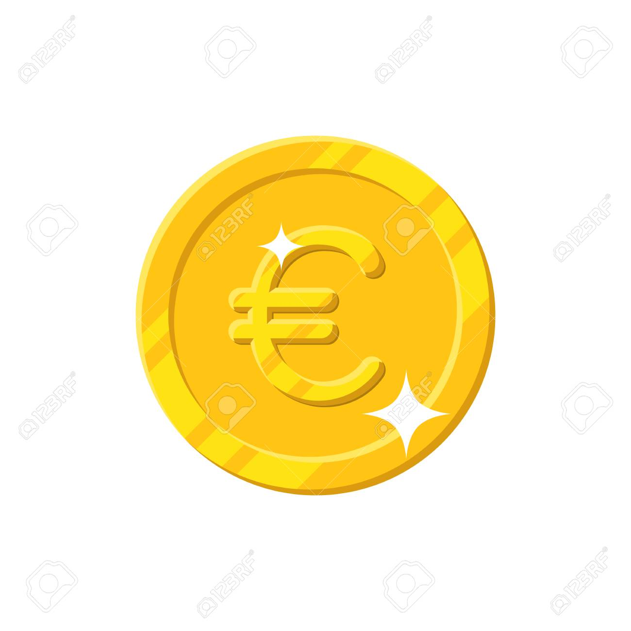 Gold Euro Coin Cartoon Style Isolated Shiny Gold Euro Sign For