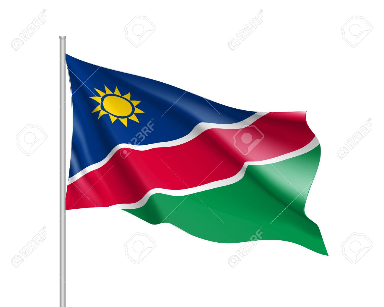 84116234 Namibia Flag Illustration Of African Country Waving Flag On Flagpole Vector 3d Icon Isolated On Whit
