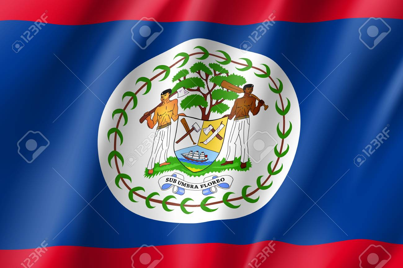 flag belize realistic icon state insignia of the nation in