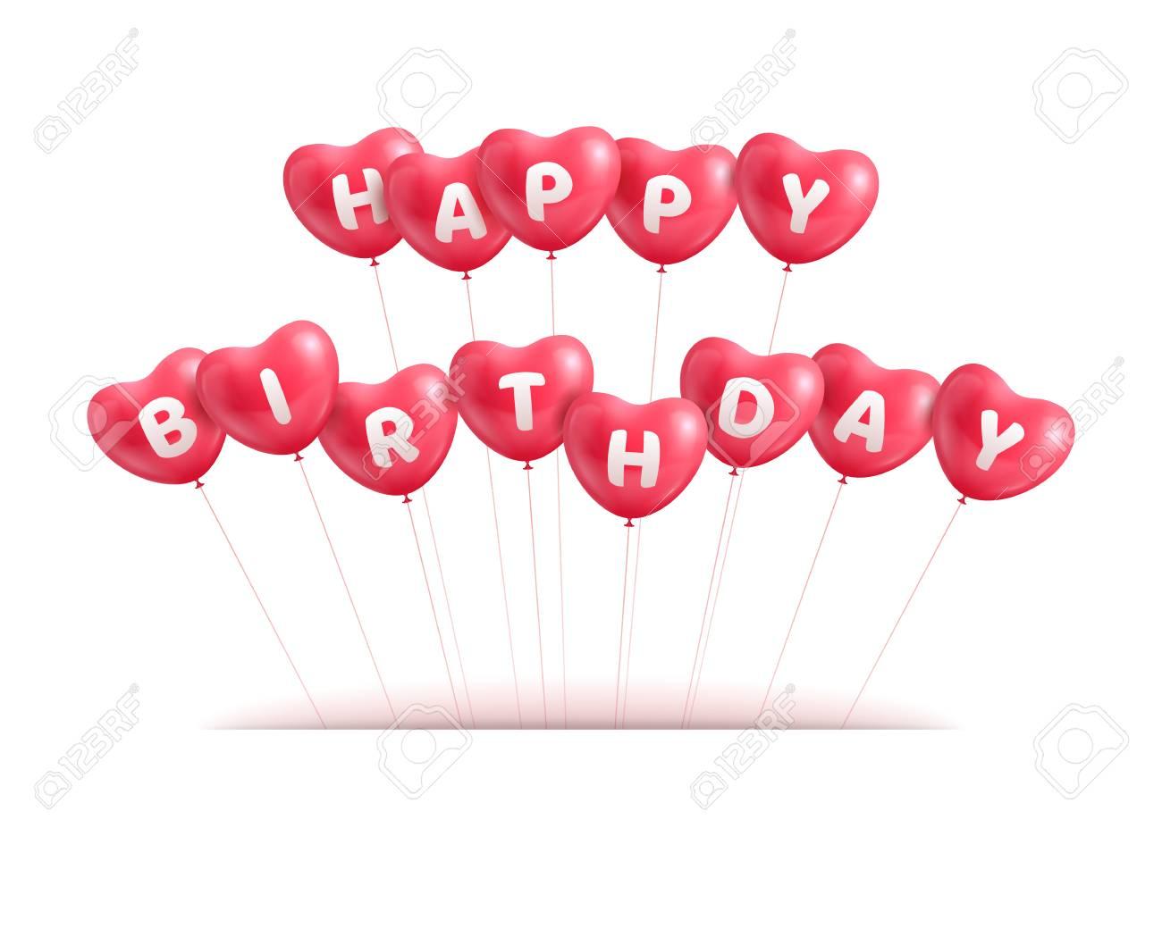 Congratulations Happy Birthday Hearts Balls Stock Vector