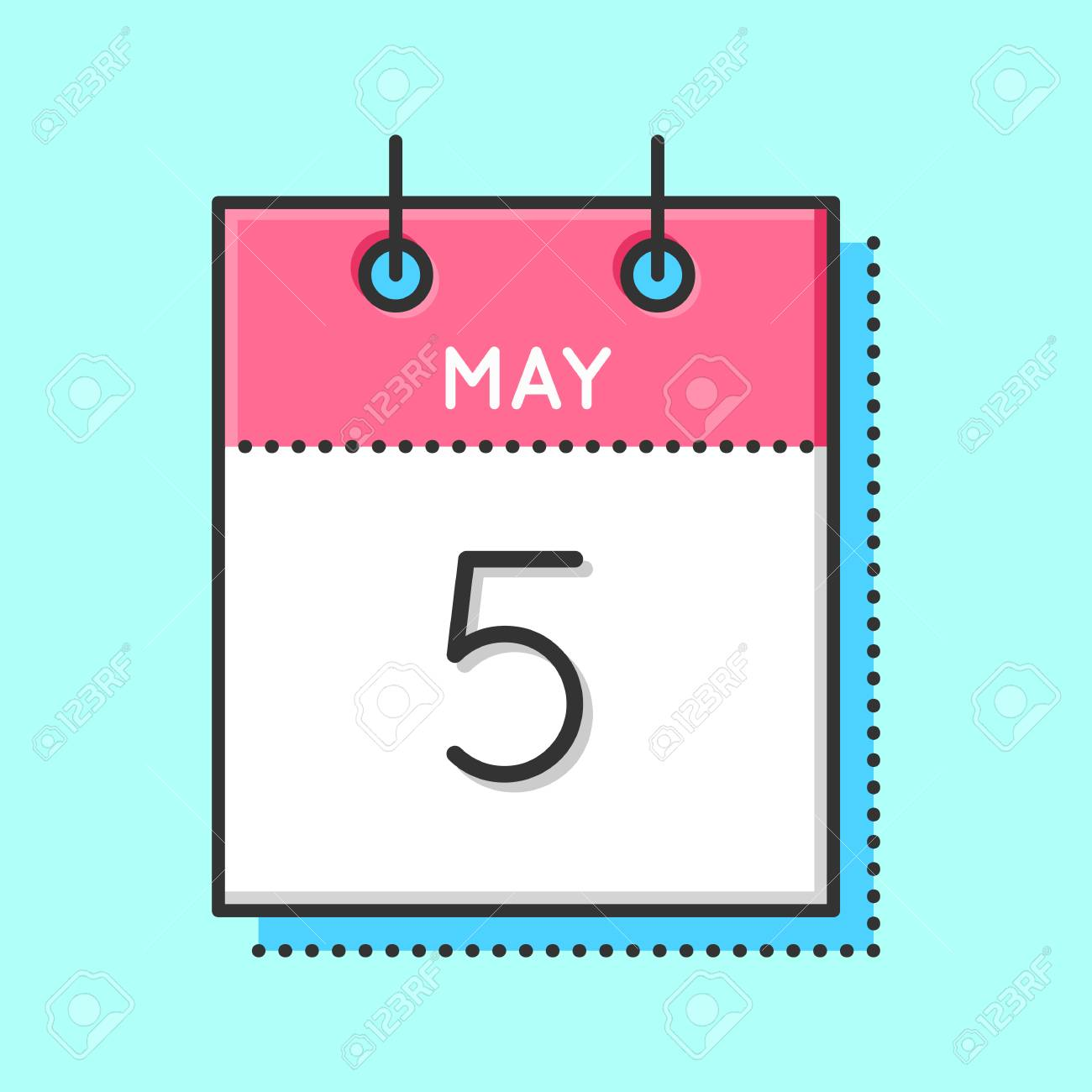 May Calendar Icon Flat And Thin Line Vector Illustration Spring