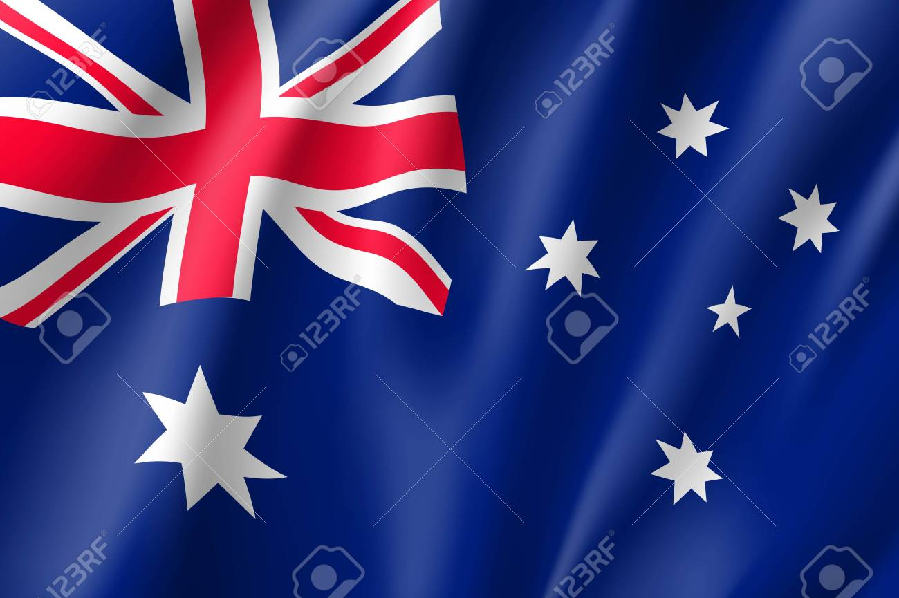 Waving flag of Australia - 91383179