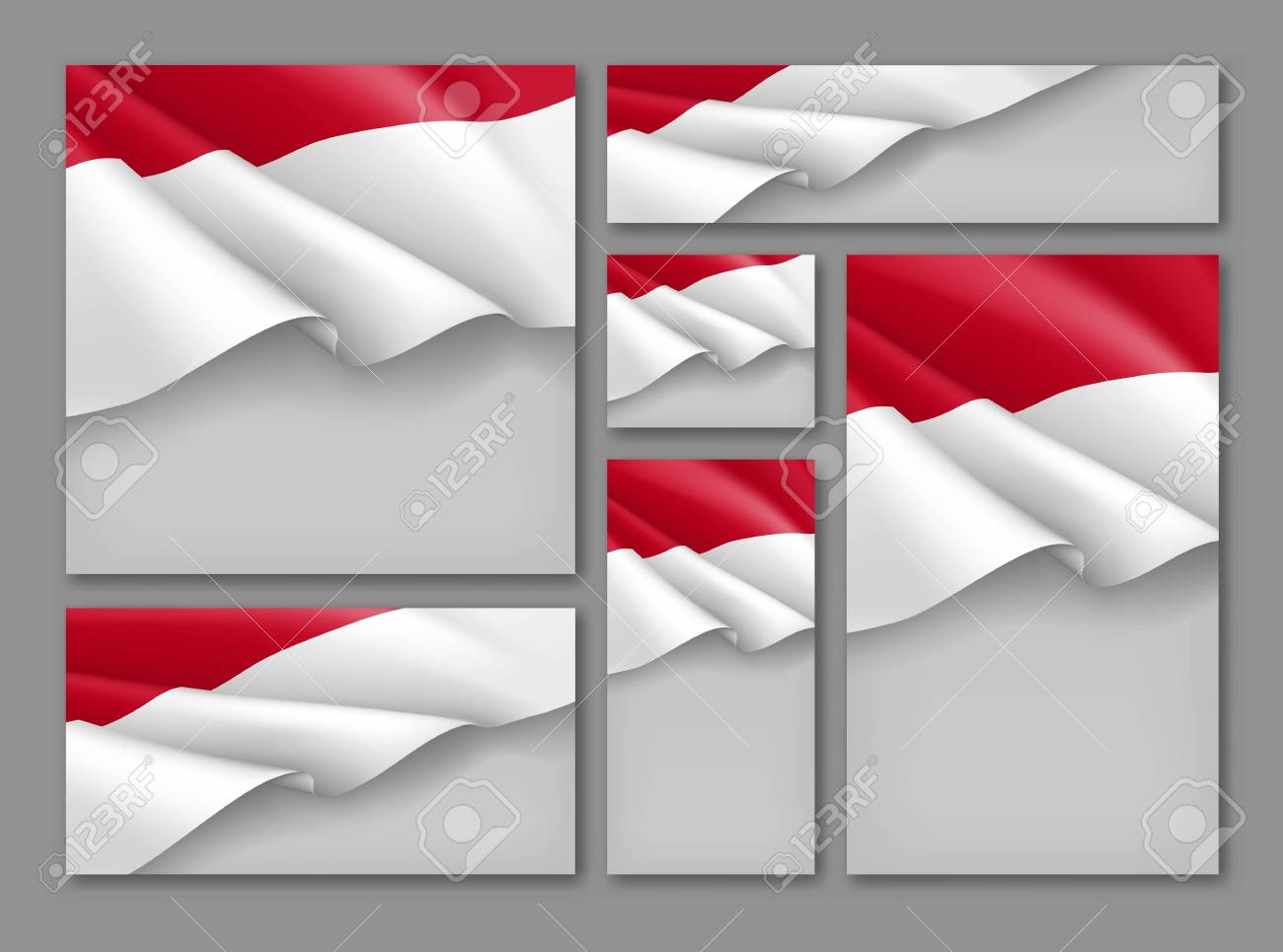 Indonesian patriotic festive banners set. Realistic waving indonesian flag on grey background. Independence, democracy and freedom vector layouts. Indonesia republic day concept with space for text - 112062336