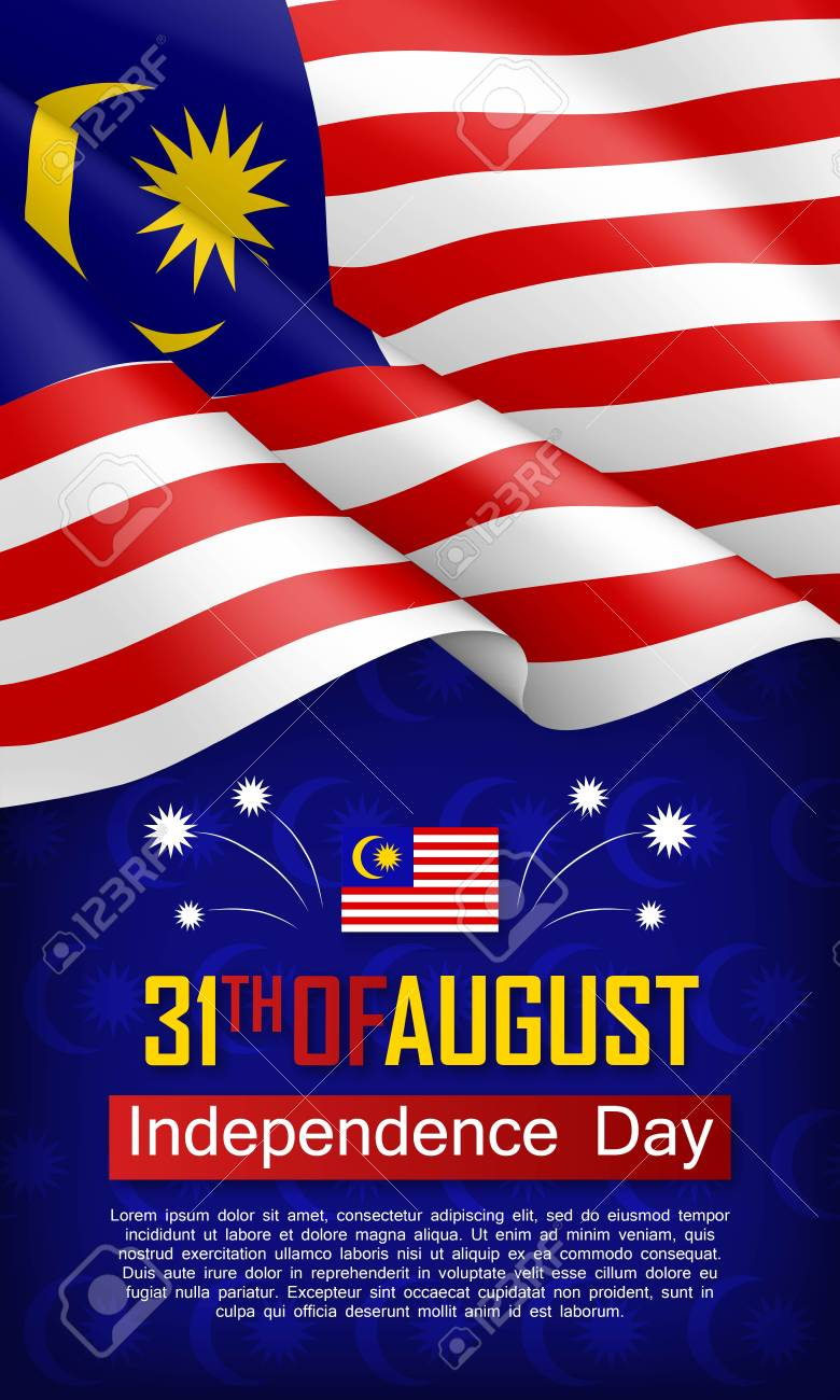 Malaysian Independence day vertical flyer. 31th of August greeting vector illustration. Patriotic background with realistic waving malaysian flag. Malaysia country traditional national holiday - 106206919