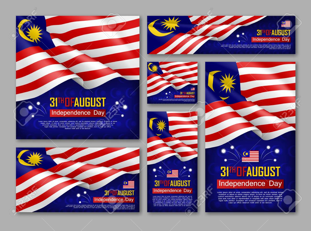 Malaysian Independence day celebration posters set. 31th of August felicitation greeting vector illustration. Realistic backgrounds with malaysian flag. Malaysian national patriotic holiday. - 112062349