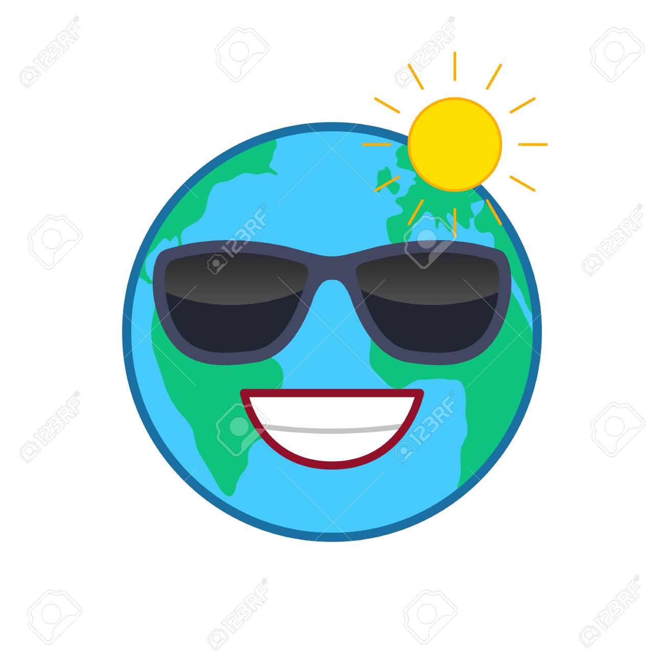 Laughing World Globe Isolated Emoticon Satisfied Planet Emoji