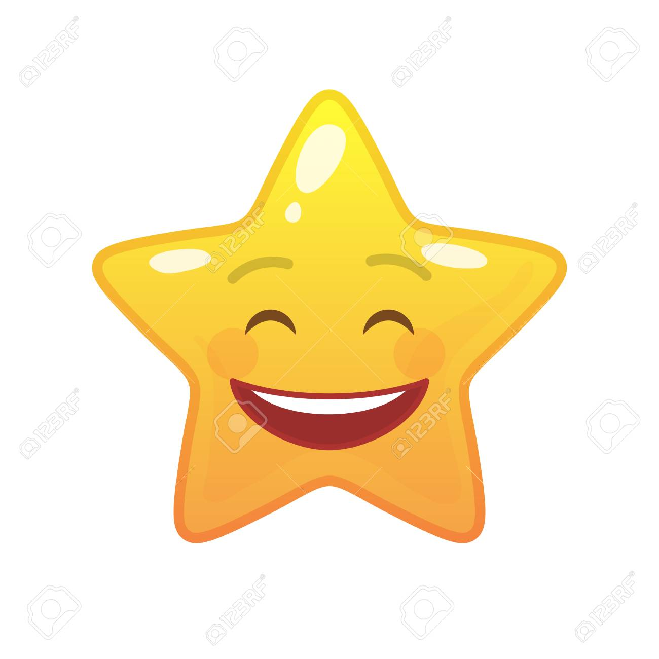 Laughing star shaped comic emoticon  Smiling face with facial