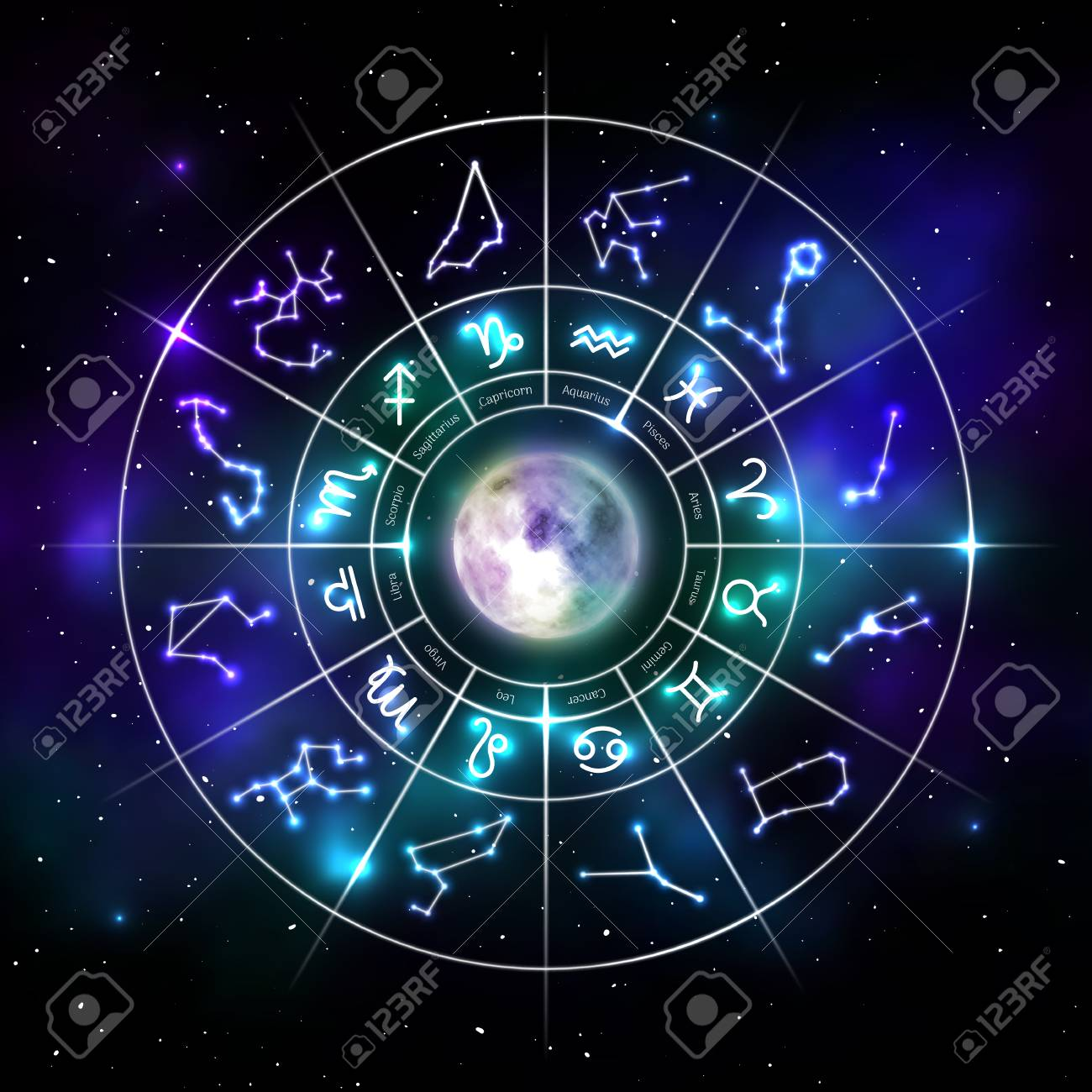 Zodiac circle with astrology symbols in neon style - 112697660