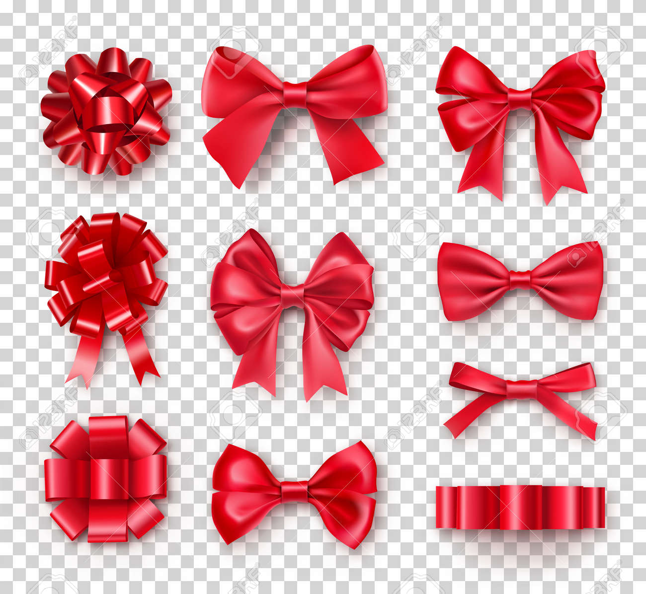 Romantic red gift bows with ribbons. Realistic decoration for holidays presents and cards. Elegant object from silk vector illustration. Chrismas or birthday decor isolated on transparent background - 123795832