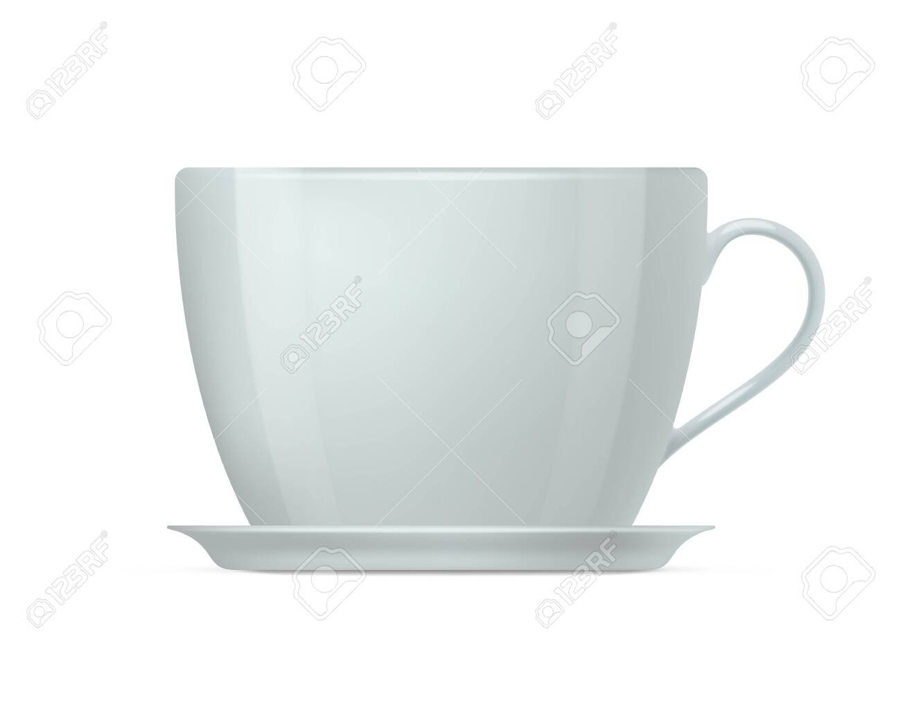 Realistic White Coffee Cup And Saucer Side View Of White Ceramic Royalty Free Cliparts Vectors And Stock Illustration Image 153912598