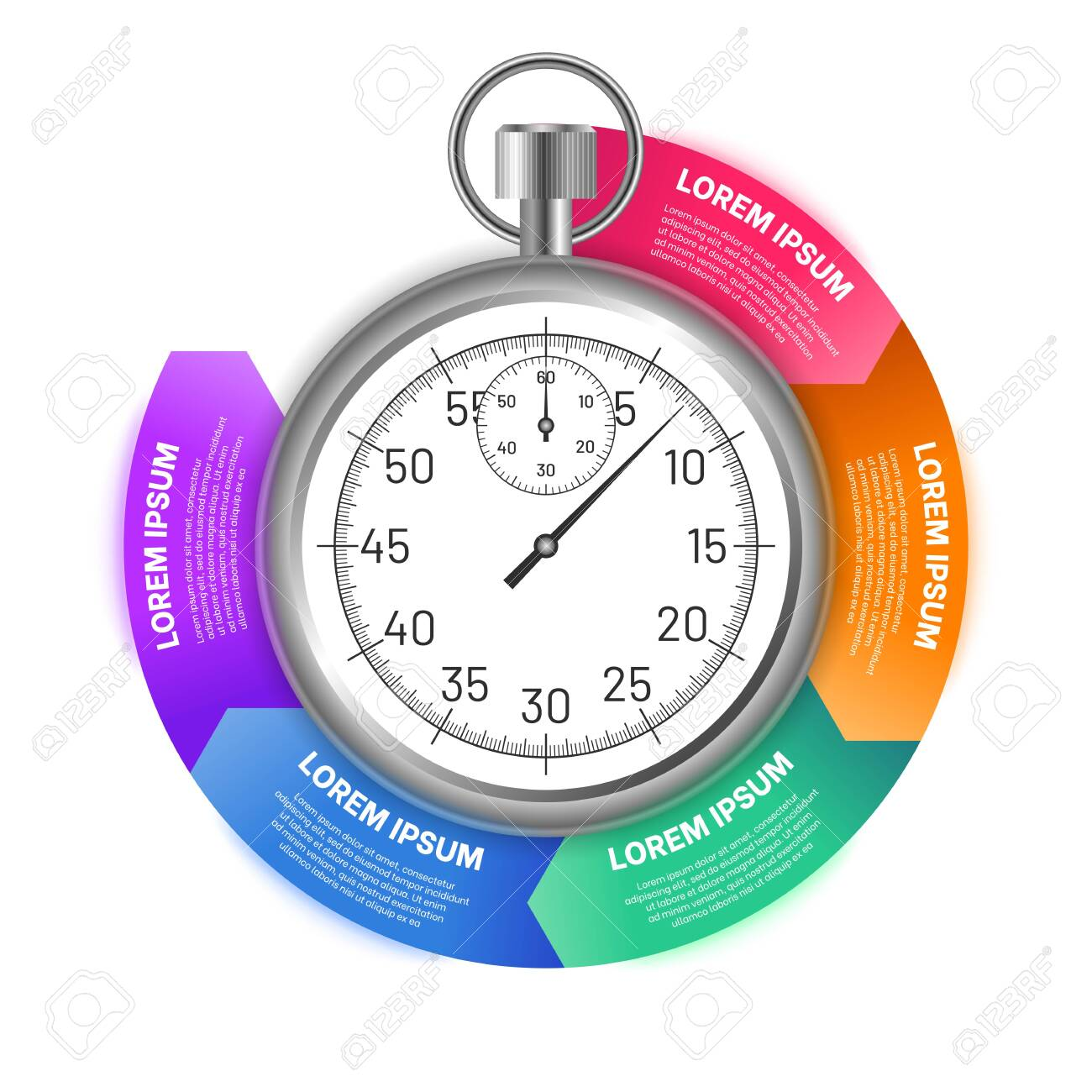 Stopwatch with options of circular shape. Business infographics template for presentation, advertising, report design. Colorful sections with timer in the center flat vector illustration - 153908261
