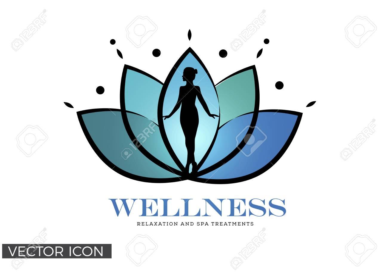 Womans Silhouette In Lotus Flower Wellness Spa Healing Logo