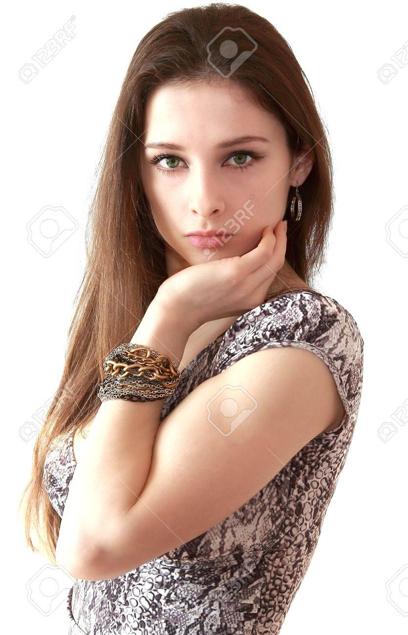 Portrait of beautiful long hair girl with bangle on the hand isolated on white background Stock Photo - 12614930