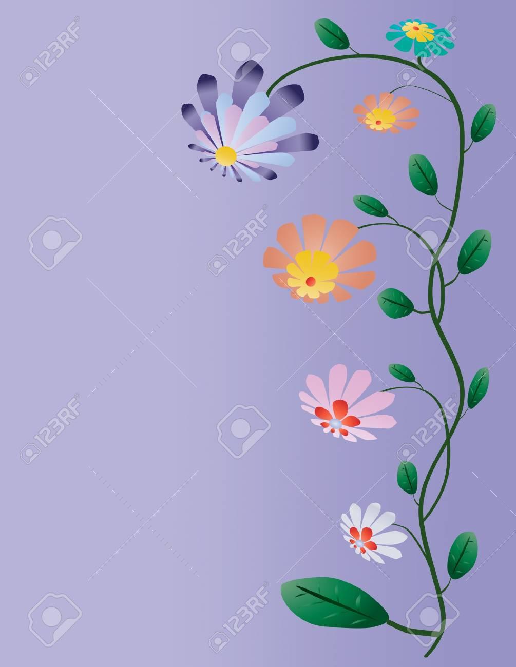 Vettoriale Bellissimo Albero Di Colore Fiori Su Sfondo Blu Image