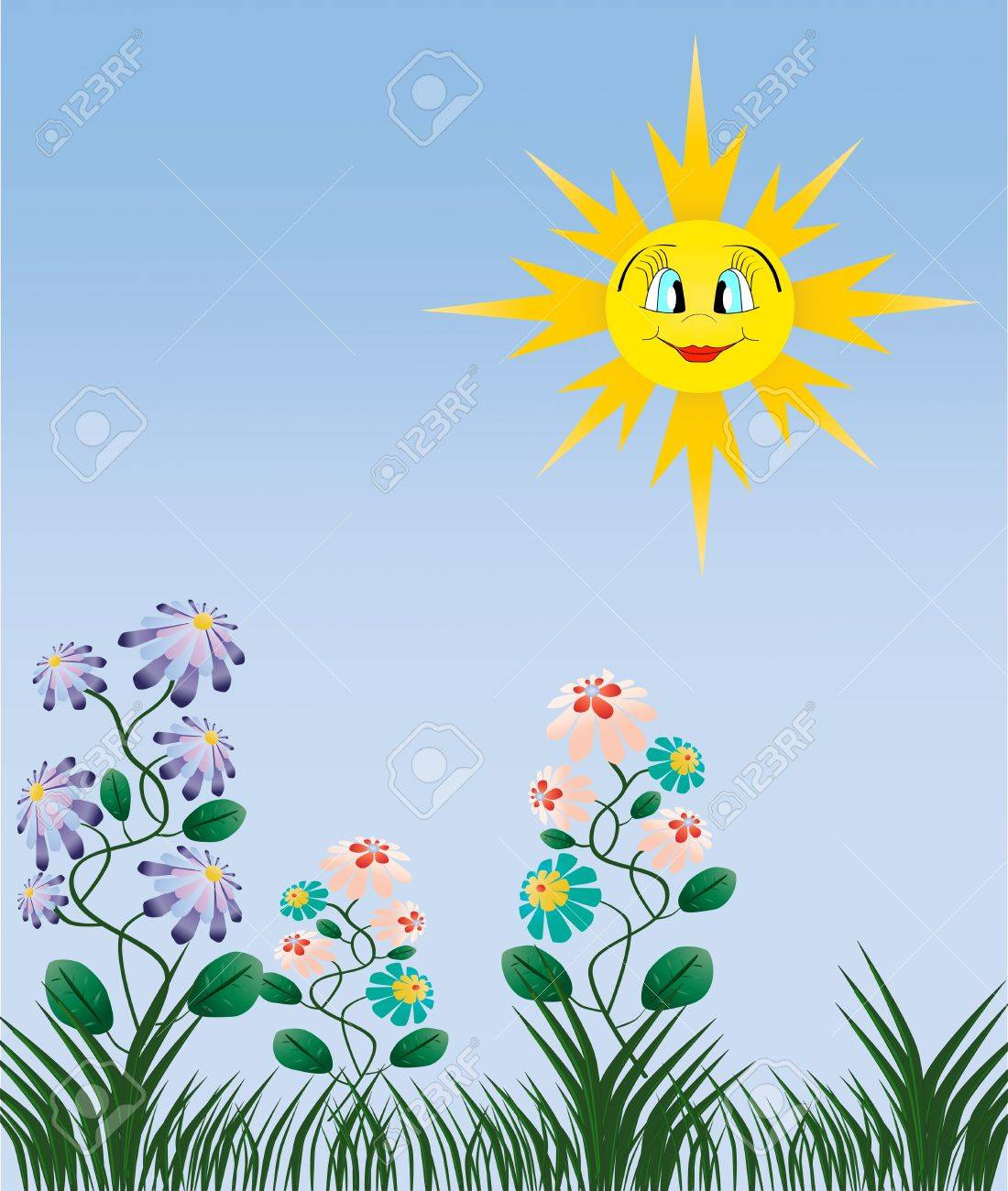 Beautiful nature illustration Yellow happy sun green grass and flowers Stock Vector - 14376722